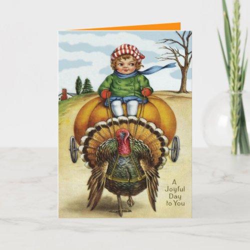 Thanksgiving Turkey Boy Riding Pumpkin Holiday Card