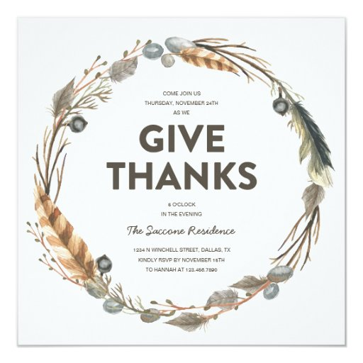 Thanksgiving Watercolor Wreath Dinner Invitation