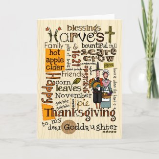 Thanksgiving Wordcloud - Goddaughter Cards