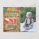 The Big One Fishing Theme Boys First Birthday Invitation Postcard
