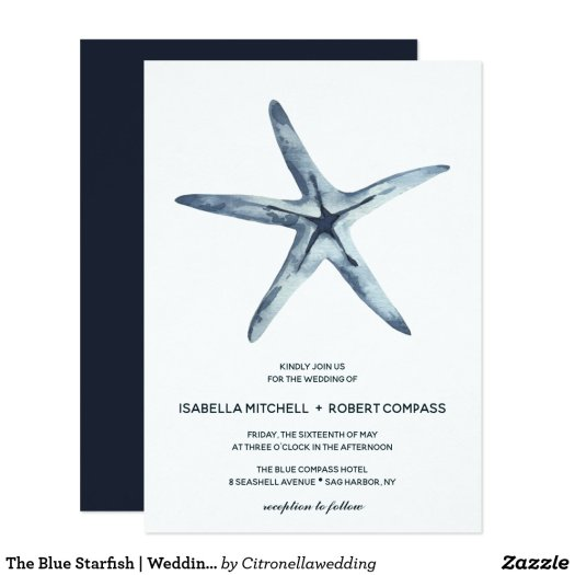 The Blue Starfish | Wedding Invitation