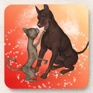 The cat and the dog beverage coaster