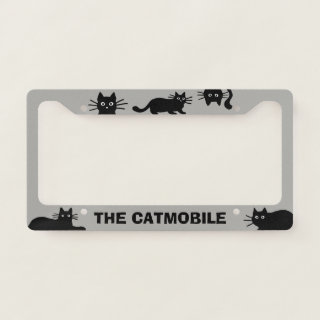 The Catmobile Cool Black Cats | Custom Cat Lover License Plate Frame