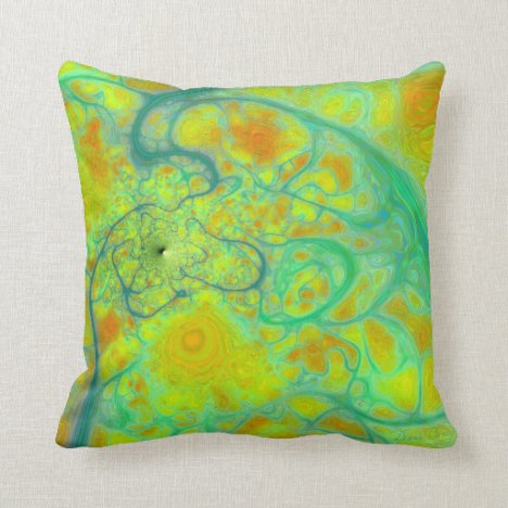 The Green Earth – Teal & Gold Tides Throw Pillow