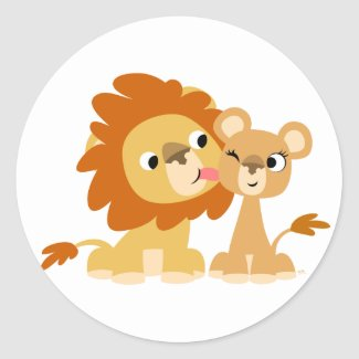 The Kiss: Cute Cartoon Lion Couple Sticker sticker