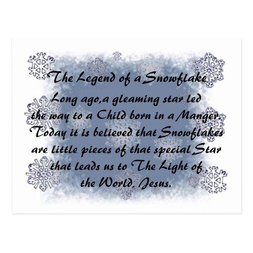 The legend of the snowflake postcard zazzle