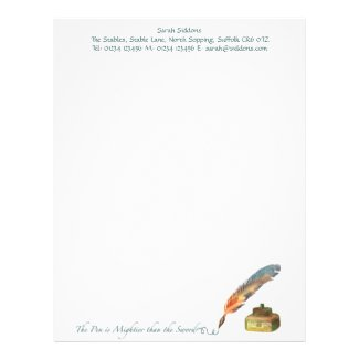 The Pen is Mightier than the Sword Stationery Custom Letterhead