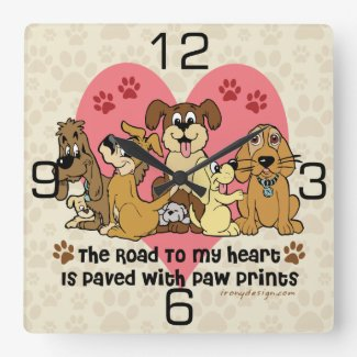The Road To My Heart Dog Paw Prints Square Wall Clock