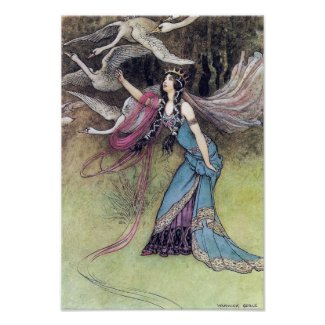 The Six Swans by Warwick Goble Poster print