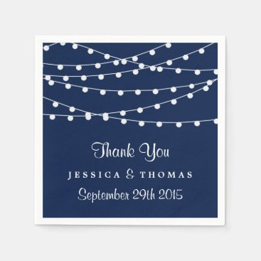 The String Lights On Navy Blue Wedding Collection Paper Napkin