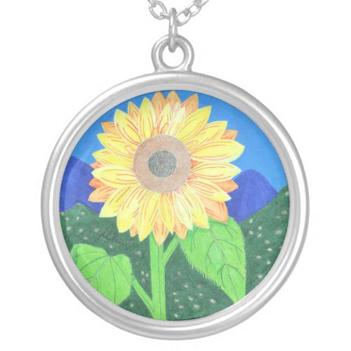 The Sunflower by Julia Hanna Round Pendant Necklace