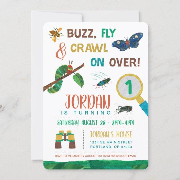 the very hungry caterpillar bug first birthday invitation zazzle com