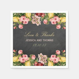 The Vintage Floral Chalkboard Wedding Collection Standard Cocktail Napkin