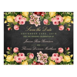 The Vintage Floral Chalkboard Wedding Collection Postcard