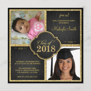 Then and Now Black and Gold Glitter Class of 2018 Invitation