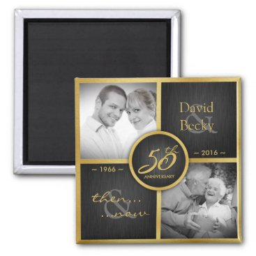 Then & Now 2016 Elegant Black & Gold 50th Wedding Magnet