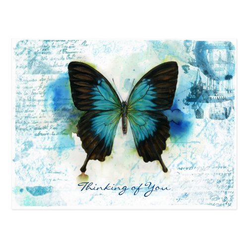 Thinking of You Blue Butterfly Victorian style Postcard