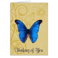 Thinking of You Blue Butterfly Vintage art Card