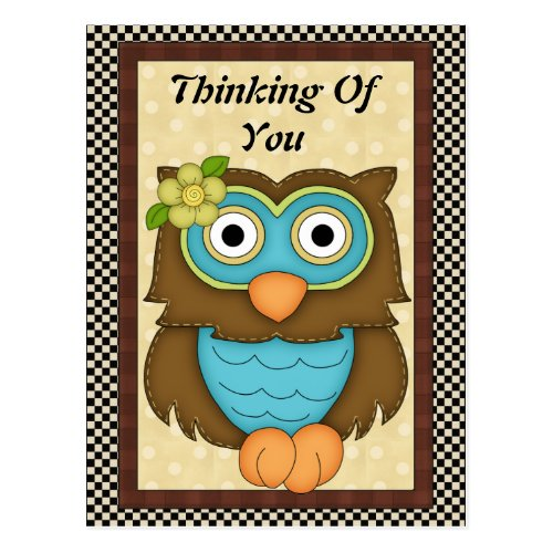 Thinking Of You Owl postcard