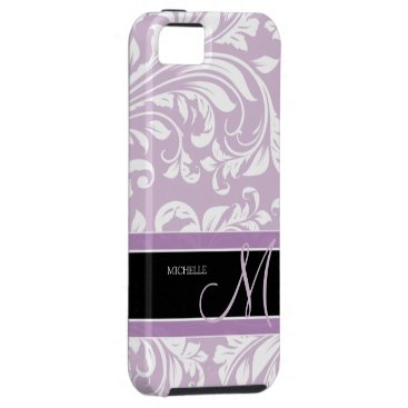 Thistle Purple and white floral damask w/ monogram iPhone SE/5/5s Case