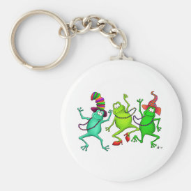 Three Dancing Frogs Keychain