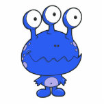 three eyed happy monster blue photo cutouts