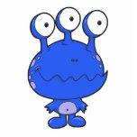three eyed happy monster blue photo cutouts
