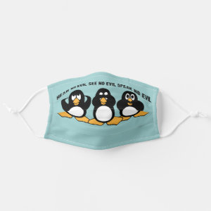 Three Wise Penguins Design Graphic | Blue Cloth Face Mask