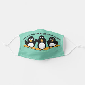 Three Wise Penguins Design Graphic Cloth Face Mask