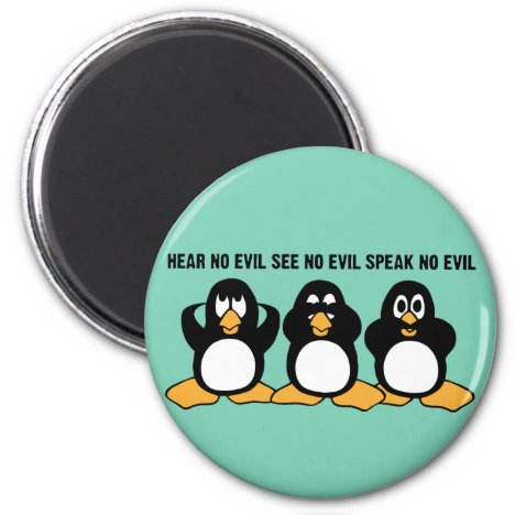 Three Wise Penguins Design Graphic Magnet