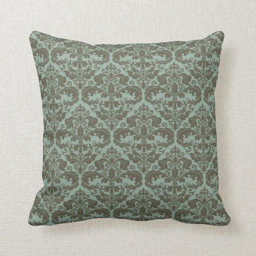 Throw Pillow  Damask Pattern Sage  Zazzle