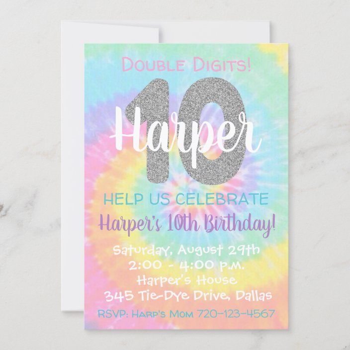 tie dye birthday invitation 10th birthday zazzle com