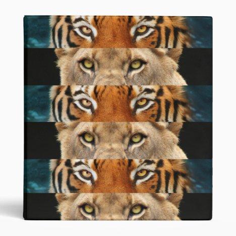 Tiger and Lion eyes Photo 3 Ring Binder