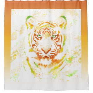 Tiger Art Paint With Border Shower Curtain