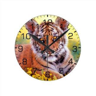 Tiger Baby Cub Round Clock
