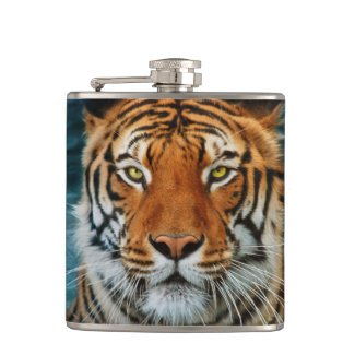 Tiger in Water Photograph Flasks