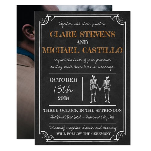 Til Death Halloween Skeleton Orange Black Wedding Invitation