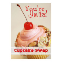 Tilted Cherry Cupcake Swap Holiday Card