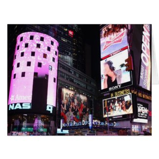 Times Square in New York City (pink) Greeting Cards