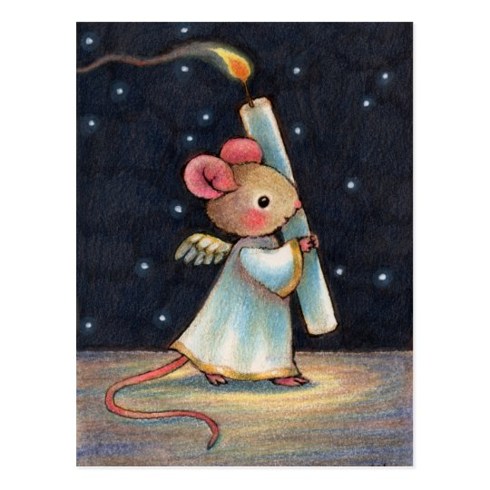 Tiny Flame Cute Christmas Angel Mouse Art Postcard
