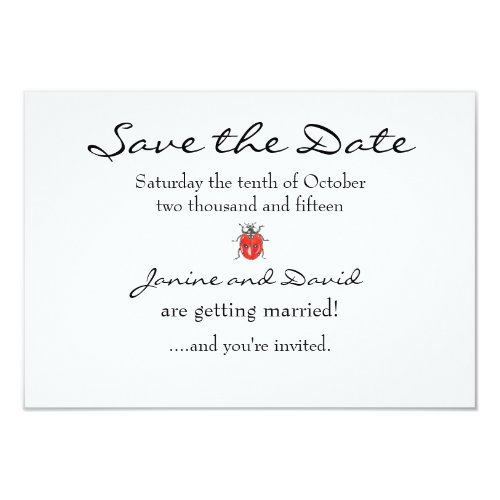Tiny Ladybird/Ladybug Save the Date card