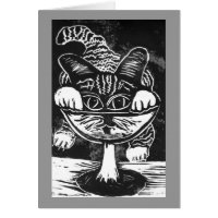 Toasting in the New Year Block Print Card