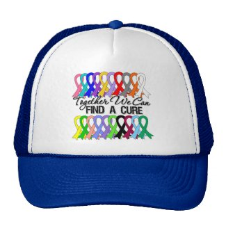 Together We Can Find a Cure Cancer Ribbons hat