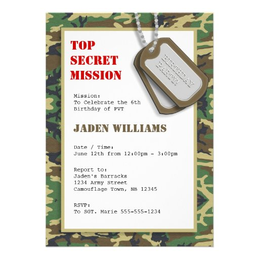 camo birthday invites