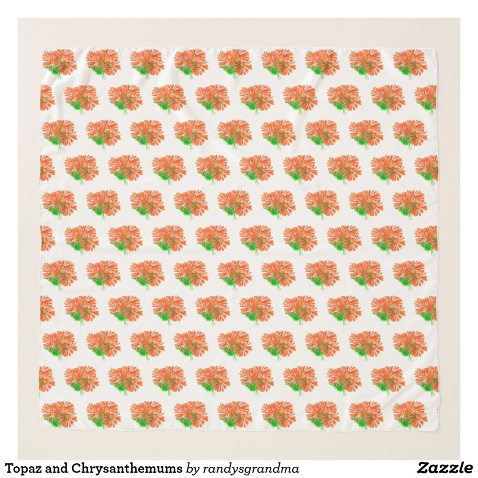 Topaz and Chrysanthemums Scarf