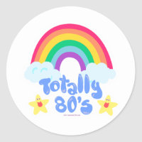 Totally 80s rainbow classic round sticker
