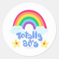 Totally 80s rainbow classic round sticker