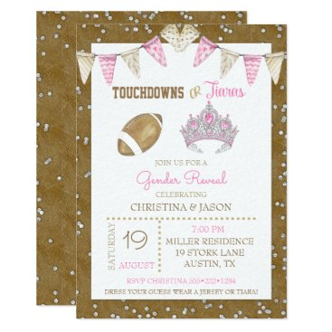 Touchdowns or Tiaras Watercolor Pink Gender Reveal Card