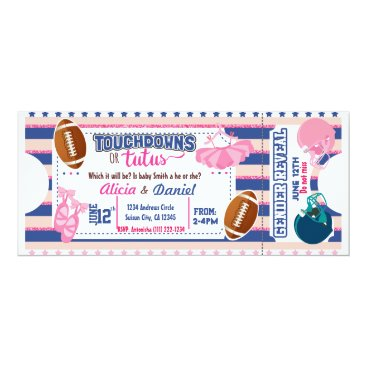 Touchdowns or Tutus Invitation - blue or pink