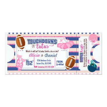 Touchdowns or Tutus Invitation - diaper raffle
